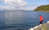 Bartek łowi we fjordzie